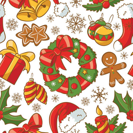 Cute doodle seamless pattern on Christmas theme Vector