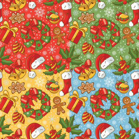 Cute doodle seamless pattern set on Christmas theme Vector