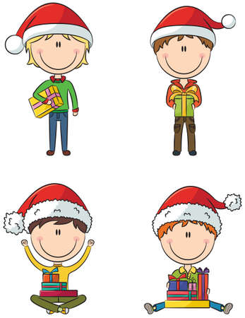 Happy Santa boys with different christmas presents Vector