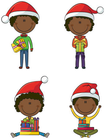 Happy African-American Santa boys with different christmas presents Vector