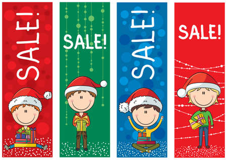 Collection of cute Christmas sale banners  Vector