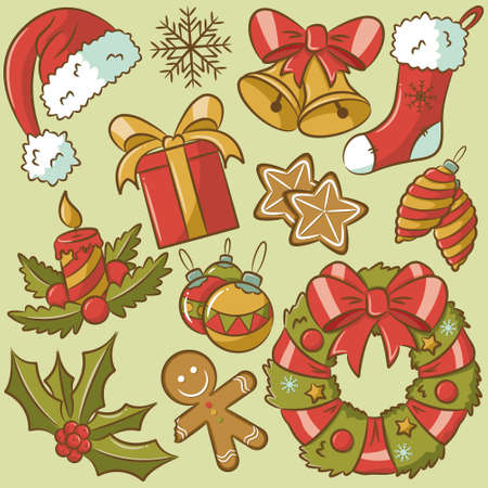 Cute retro doodle icons on Christmas theme Vector
