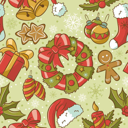 Cute vintage seamless pattern on Christmas theme Vector