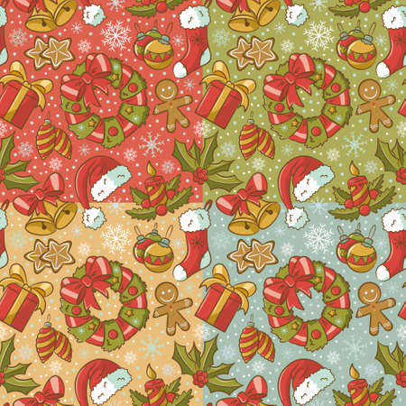 Collection of cute vintage seamless patterns on Christmas theme Vector