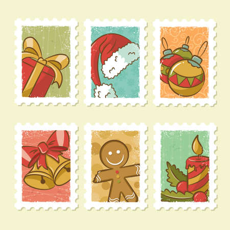 Vintage Christmas Stamps Collection Stock Vector - 16704016