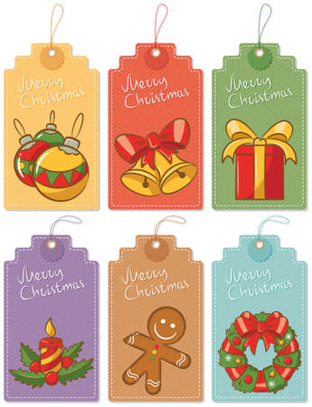backgrouns: Christmas gift labels isolated on white backgrouns