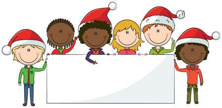 niños con pancarta: Niños felices en sombreros de la Navidad tiene bandera blanca