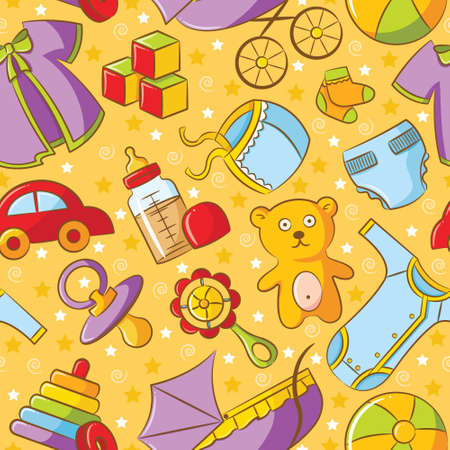 tessera: Cute doodle baby seamless pattern