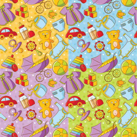 Four cute baby seamless patterns