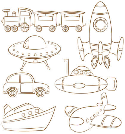 Doodle set with ground, water and air vehicle Stock Vector - 17569653