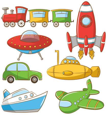 carro caricatura: Doodle conjunto con vehículo de tierra, agua y aire