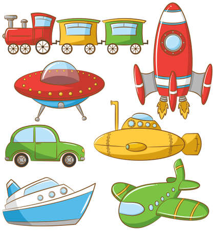 cartoon submarine: Doodle set with ground, water and air vehicle