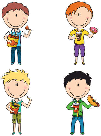 children eating: Happy boys with different junk foods