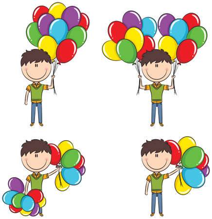 life event: Cute boy with color balloons in different poses