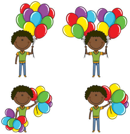 Cute African-American boys with color balloons in different poses Stock Vector - 18148783
