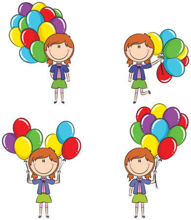 colored balloons: Cute girls with color balloons in different poses Illustration