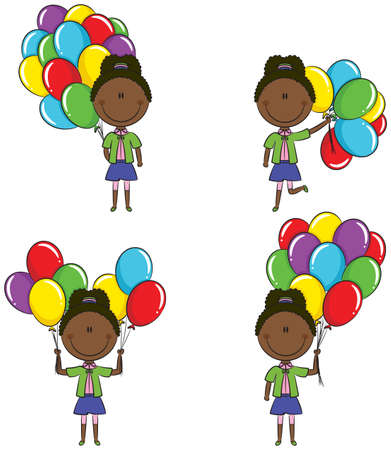 colored balloons: Cute African-American girls with color balloons in different poses