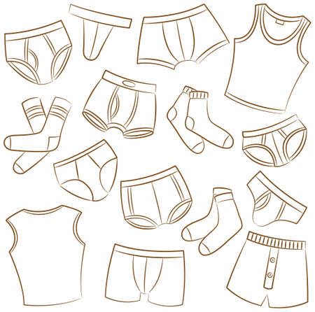 male boxer: Male Underwear Doodle Icon Set Illustration