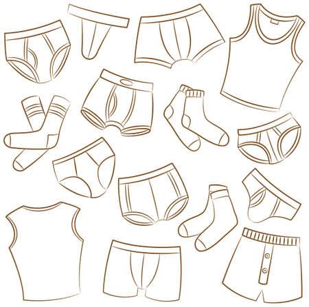 boy underwear: Male Underwear Doodle Icon Set Illustration