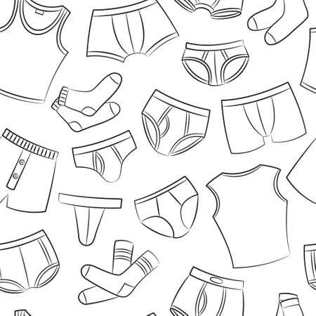tanga: Maschio Underwear Doodle Seamless Pattern