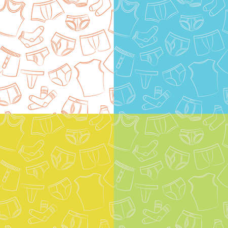 hosiery: Male Underwear Doodle Seamless Patterns Collection Illustration