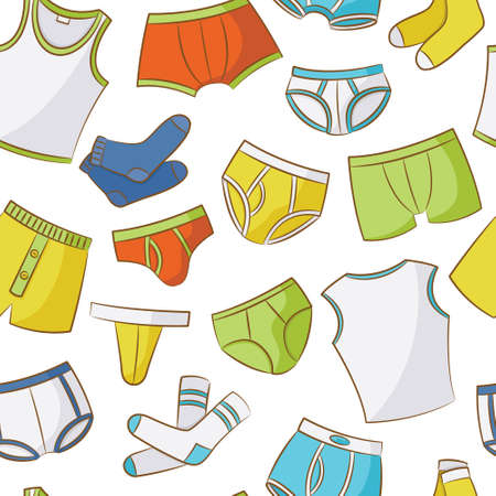 young male: Male Underwear Doodle Seamless Pattern