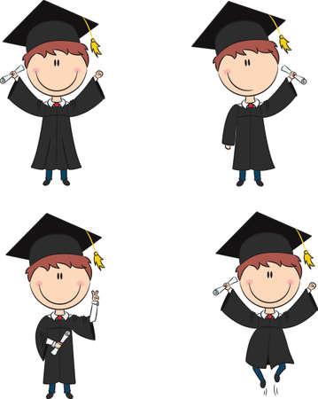 diplom studen: Graduation Cartoon Boy in verschiedenen Posen Illustration