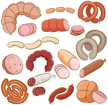 meats: Various meats doodles  sausages, wurst, wiener, salami Illustration