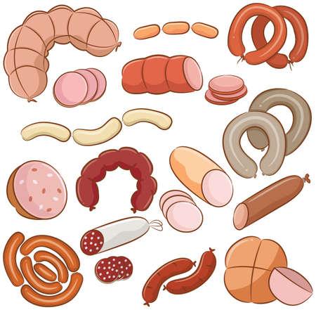 veal sausage: Various meats doodles  sausages, wurst, wiener, salami Illustration