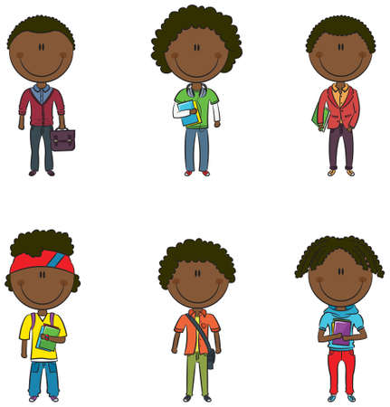Collection of modern and smart Afro-American students Stock Vector - 21825677
