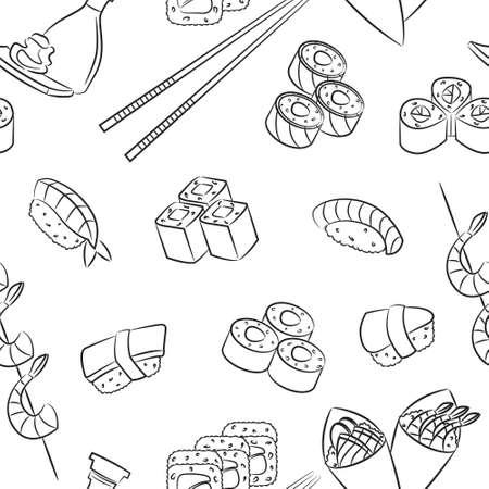 nigiri: Seamless pattern with japanese food  Illustration