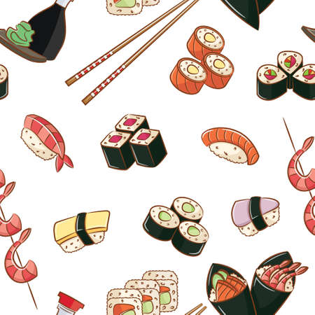 Seamless pattern with japanese food   イラスト・ベクター素材