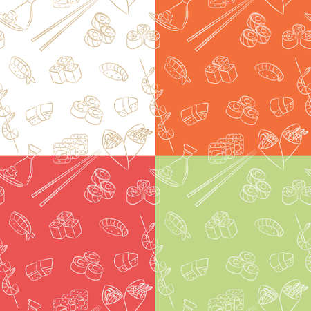 Collection of seamless patterns with japanese food