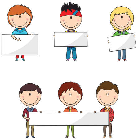 child holding sign: Cute and smart modern students with empty banners Illustration