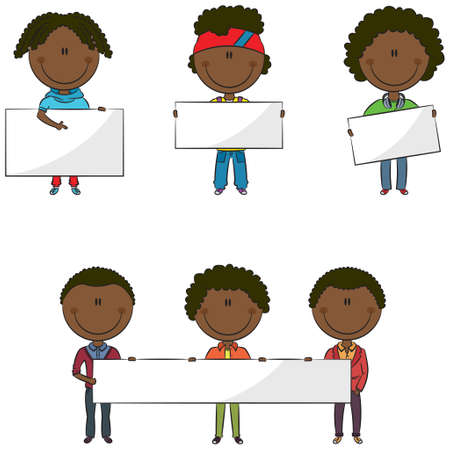 black people: Cute and smart modern African-American students with empty banners Illustration