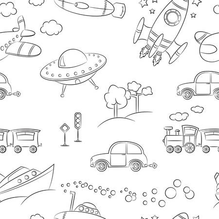 Seamless pattern with ground, water and air vehicle Vector
