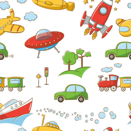 cruise cartoon: Seamless pattern with ground, water and air vehicle Illustration