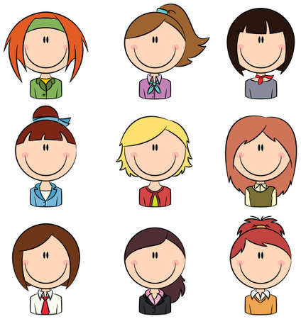 Doodle set with different female avatars Vector