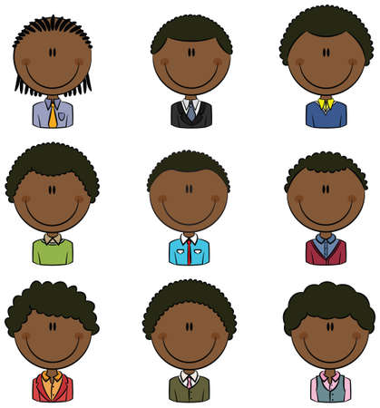 Doodle set with African-American different male avatar Vector