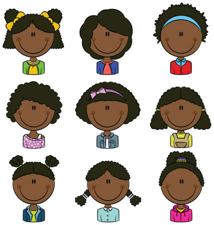 smart girl: African American girls avatar useful for Social network