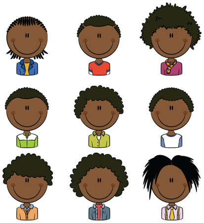 for boys: African American boys avatar useful for Social network Illustration