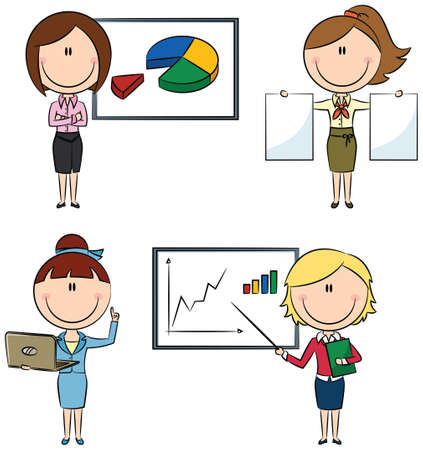 Cute funny business ladies with diagrams and documents