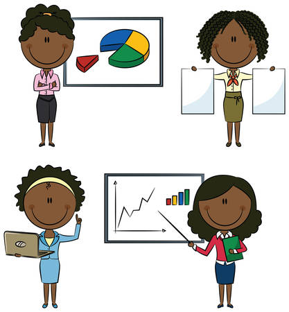 Cute African-Americany business ladies with diagrams and documents Vector