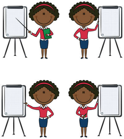 office lady: Cute African-American business ladies with flipchart