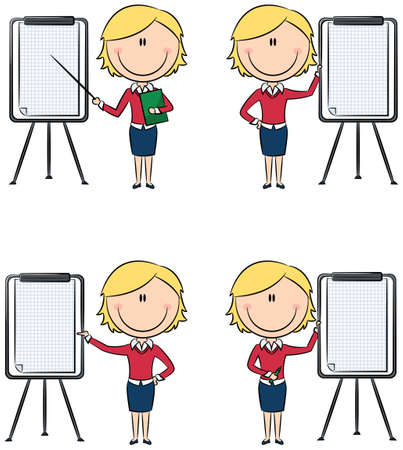 Cute funny business ladies with flipchart Vector