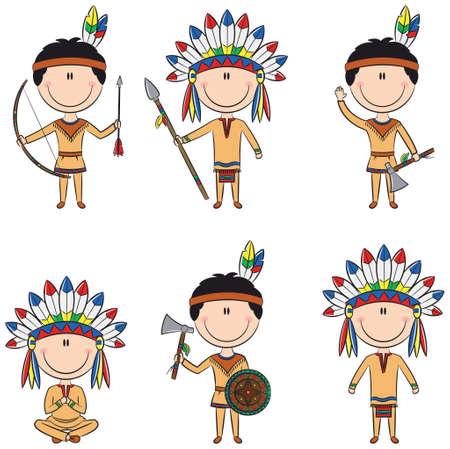 Slimme jongens in Indianen kostuums