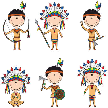 Smart boys in Indians costumes Vector