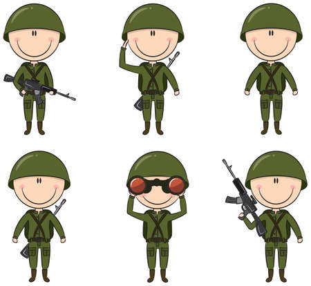 soldier with rifle: Collection of soldiers in different poses Illustration