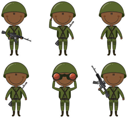 Collection of African-American soldiers in different poses Vector