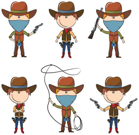 Sheriff and Bandit characters Vector